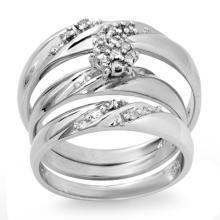 18K White Gold Jewelry 0.12 ctw Diamond Bridal Ring - SKU#U47L1- 99260- 18K