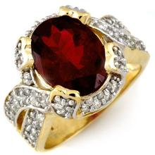14K Yellow Gold Jewelry 4.50ct Rubellite & Diamond Ring - SKU#U73T5- 1577-14K
