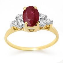 18K Yellow Gold Jewelry 1.35 ctw Ruby & Diamond Ring - SKU#U19T7- 99053- 18K