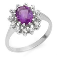 14K White Gold Jewelry 1.19 ctw Amethyst & Diamond Ring - SKU#U16L3- 90088-14K
