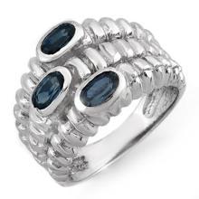14K White Gold Jewelry 1.25 ctw Blue Sapphire Ring - SKU#U30V2- 1058-14K
