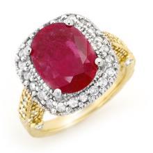 14K 2Tone Gold Jewelry 9.40 ctw Ruby & Diamond Ring - SKU#U12M33- 90784-14K