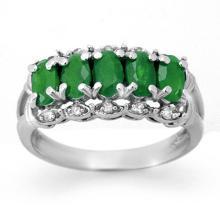 18K White Gold Jewelry 1.75 ctw Emerald & Diamond Ring - SKU#U29K1- 90190- 18K
