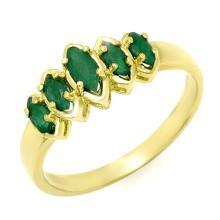 18K Yellow Gold Jewelry 0.50 ctw Emerald Ring - SKU#U15R6- 90566- 18K