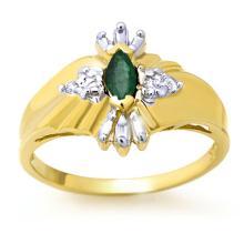 18K Yellow Gold Jewelry 0.22 ctw Emerald & Diamond Ring - SKU#U16F5- 90031- 18K