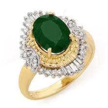 10K Yellow Gold Jewelry 2.58 ctw Emerald & Diamond Ring - SKU#U32X7- 90751- 10K