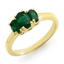 18K Yellow Gold Jewelry 1.0 ctw Emerald Ring - SKU#U24K4- 90230- 18K
