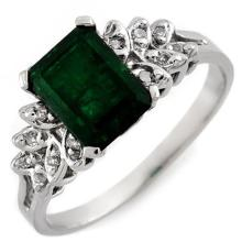 10K White Gold Jewelry 2.12 ctw Emerald & Diamond Ring - SKU#U19B9- 1687- 10K