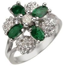 14K White Gold Jewelry 1.08 ctw Emerald & Diamond Ring - SKU#U25F6- 1437-14K