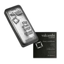 1 Kilo Valcambi .999 Fine Poured Silver Bar w/ Assay