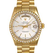 Pre-owned Mint Condition Rolex Men's 18K Yellow Gold Day-Date Silver Dial Watch - #110A22W