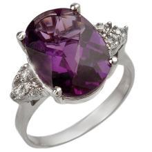 Genuine 5.10 ctw Amethyst & Diamond Ring 18K White Gold - 10821-#49T8Z