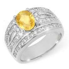 Genuine 3.04 ctw Yellow Sapphire & Diamond Ring 14K White Gold - 10737-#111W3K