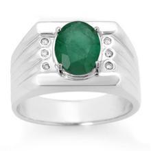 Genuine 2.06 ctw Emerald & Diamond Men's Ring 10K White Gold - 14469-#47A7N