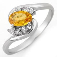 Genuine 0.70 ctw Yellow Sapphire & Diamond Ring 10K White Gold - 10419-#16P8X
