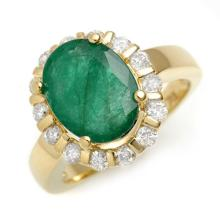 Genuine 4.65 ctw Emerald & Diamond Ring 10K Yellow Gold - 11001-#62V3A