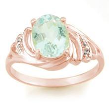 Natural 2.04 ctw Aquamarine & Diamond Ring 14K Rose Gold - 11552-#25A3N