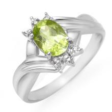 Natural 1.04 ctw Peridot & Diamond Ring 10K White Gold - 13446-#14N2F
