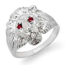 Genuine 0.09 ctw Ruby & Diamond Men's Ring 10K White Gold - 13183-#28R3H