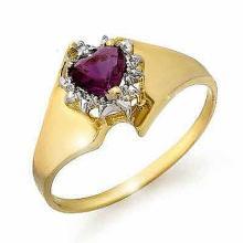 Genuine 0.40 ctw Amethyst & Diamond Ring 10K Yellow Gold - 12597-#10H5W