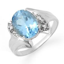 Genuine 2.51 ctw Blue Topaz & Diamond Ring 10K White Gold - 12283-#16G2R