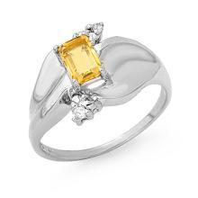 Genuine 0.72 ctw Citrine & Diamond Ring 18K White Gold - 13187-#33R8H