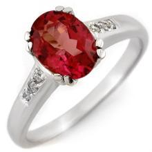 Genuine 1.35 ctw Pink Tourmaline & Diamond Ring 10K White Gold - 11459-#25R7H