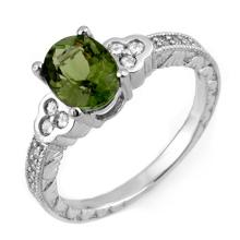 Genuine 2.27 ctw Green Tourmaline & Diamond Ring 14K White Gold - 11307-#52M5G