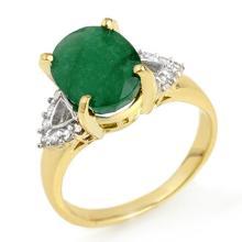 Genuine 4.24 ctw Emerald & Diamond Ring 10K Yellow Gold - 13033-#34A5N