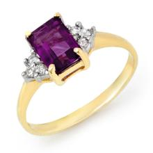 Genuine 1.16 ctw Amethyst & Diamond Ring 18K Yellow Gold - 13057-#27Y3V