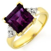 Genuine 3.20 ctw Amethyst & Diamond Ring 10K Yellow Gold - 10459-#26X2Y