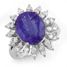 Genuine 7.38 ctw Tanzanite & Diamond Ring 14K White Gold - 13795-#254N5F