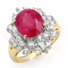 Natural 5.15 ctw Ruby & Diamond Ring 14K Yellow Gold - 12914-#92A2N