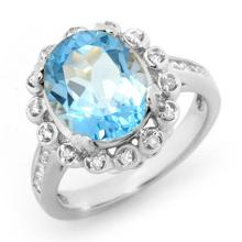 Genuine 5.33 ctw Blue Topaz & Diamond Ring 10K White Gold - 13439-#43X2Y