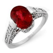 Genuine 2.75 ctw Rubellite & Diamond Ring 14K White Gold - 11231-#94F5M