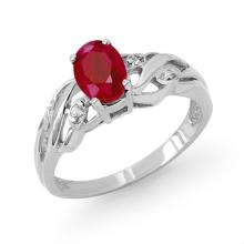 Genuine 1.02 ctw Ruby & Diamond Ring 10K White Gold - 13745-#14F5M