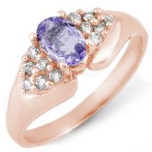 Genuine 0.90 ctw Tanzanite & Diamond Ring 14K Rose Gold - 10667-#35M7G