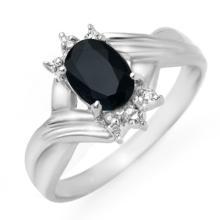 Genuine 1.03 ctw Blue Sapphire & Diamond Ring 10K White Gold - 12319-#14X2Y