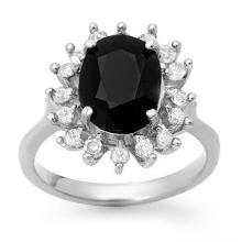 Genuine 3.67 ctw Blue Sapphire & Diamond Ring 14K White Gold - 12753-#56H2W