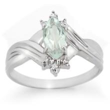 Natural 0.62 ctw Aquamarine & Diamond Ring 10K White Gold - 10700-#13R7H
