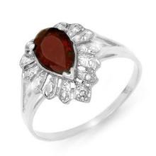 Genuine 1.11 ctw Garnet & Diamond Ring 18K White Gold - 13609-#20V5A