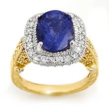 Genuine 5.40 ctw Tanzanite & Diamond Ring 14K 2-Tone Gold - 10721-#206K2T