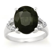 Natural 6.58 ctw Blue Sapphire & Diamond Ring 10K White Gold - 12766-#38R5H