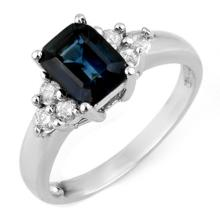 Natural 2.66 ctw Blue Sapphire & Diamond Ring 18K White Gold - 11336-#48R7H