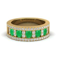 Certified 2.34 ctw Emerald & Micro Pave Diamond Designer Inspired Band Ring 10K Yellow Gold - 20825-#49H2Y