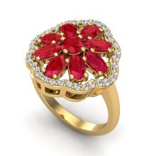 Certified 4.0 ctw Ruby & Diamond Cluster Designer Halo Ring 10K Yellow Gold - 20785-#45H5Y