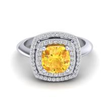 Certified 2.50 ctw Citrine & Micro Diamond Pave Halo Ring 18K White Gold - 20757-#55H8Y