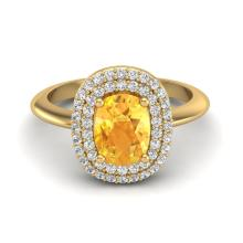 Certified 2.50 ctw Citrine & Micro Pave Diamond Ring Double Halo 14K Yellow Gold - 20741-#56Z7A