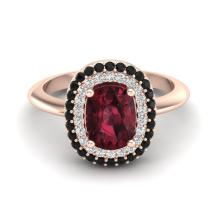 Certified 2.50 ctw Garnet & Black & White Micro Pave Diamond Ring Double Halo Bridal Solitaire 14K Rose Gold - 20731-#56A7M