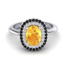 Certified 2.50 ctw Citrine & Black & White Micro Pave Diamond Ring Double Halo Bridal Solitaire 14K White Gold - 20729-#56X7S